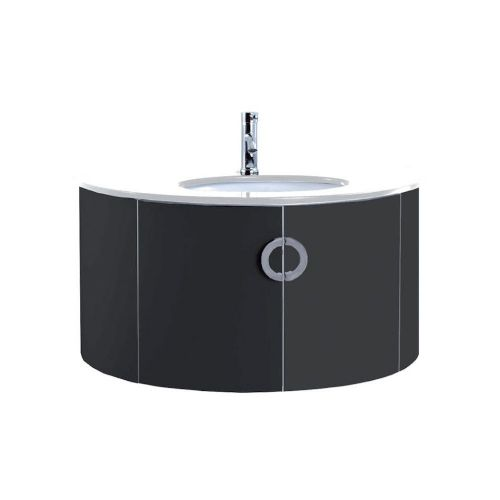 Valencia 1000mm Black Gloss Wall Hung Cabinet & Basin - 1 Tap Hole